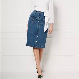 Eva Mendes Button Down Denim Skirt
